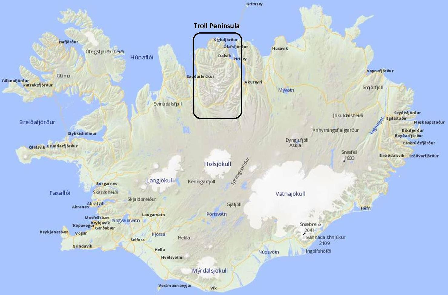 The location of Troll Peninsula in the north of Iceland